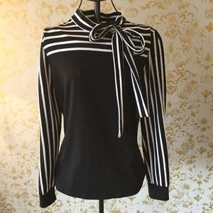 Allegra K striped top with bow size small